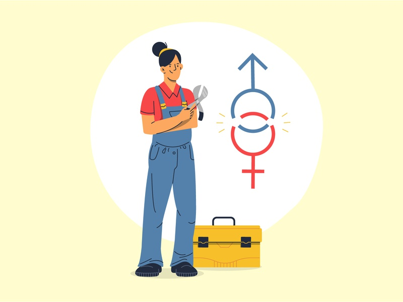 Break gender norms flat vector tool toolbox mechanic woman women equality norms gender