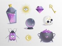 Esoteric elements illustration vector gradient witchcraft esoteric