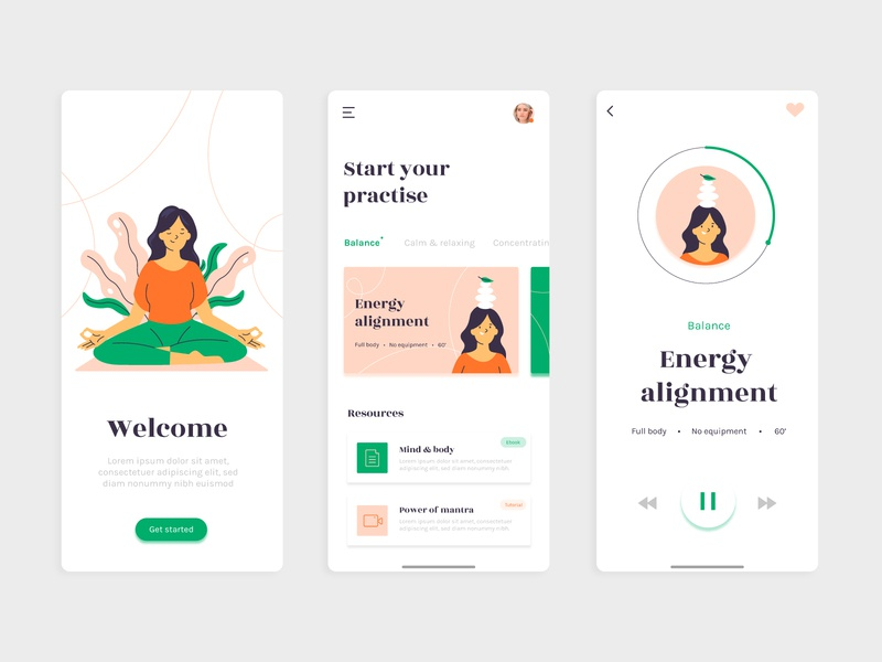Meditation app concept vector screen yoga meditation flat illustration ui concept interface app