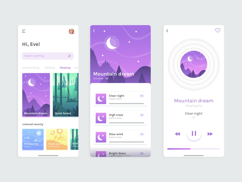 Meditation app concept screen app concept vector flat illustration ui meditation