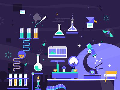 Web Lab flat metamorphosis vector illustration lab