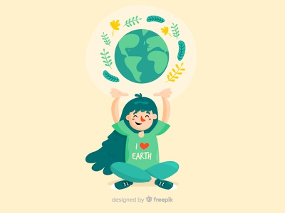 Mother Earth Day nature save planet ecology vector flat girl mother earth mother earth day love kid earth