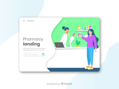Pharmacy Landing Concept page landing flat pharmaceutical company business service medication pills healthcare health pharmacy