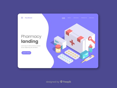 Pharmacy Landing Page prescription medication box medical business care isometric page landing pharmacy health