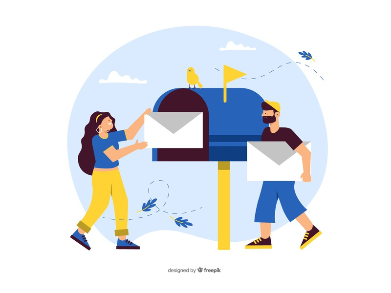 Mailbox concept flat illustration marketing company business vector email mail people mailbox