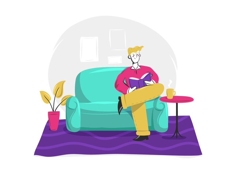 Relaxing at home read book chill vector sofa coffee house home man illustration