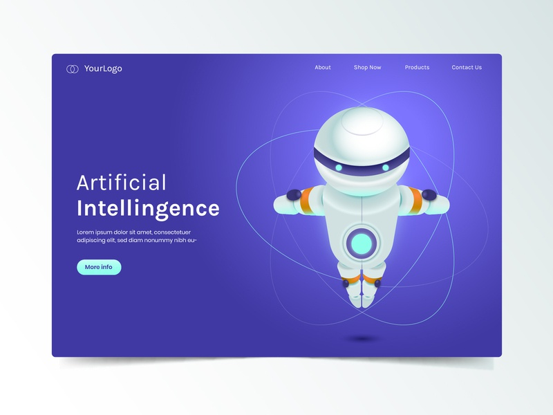 Artificial intellingence business marketing template page landing intellingence artificial