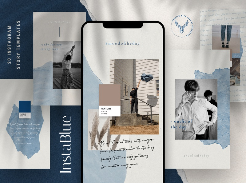 #InstaBlue - Minimal Instagram Stories color of the year pantone blue classic blue instagram story template instagram story instagram stories template instagram templates instagram stories pack instagram template wedding creativemarket instagram stories social media instagram elegant social pack instagram pack creative creative market