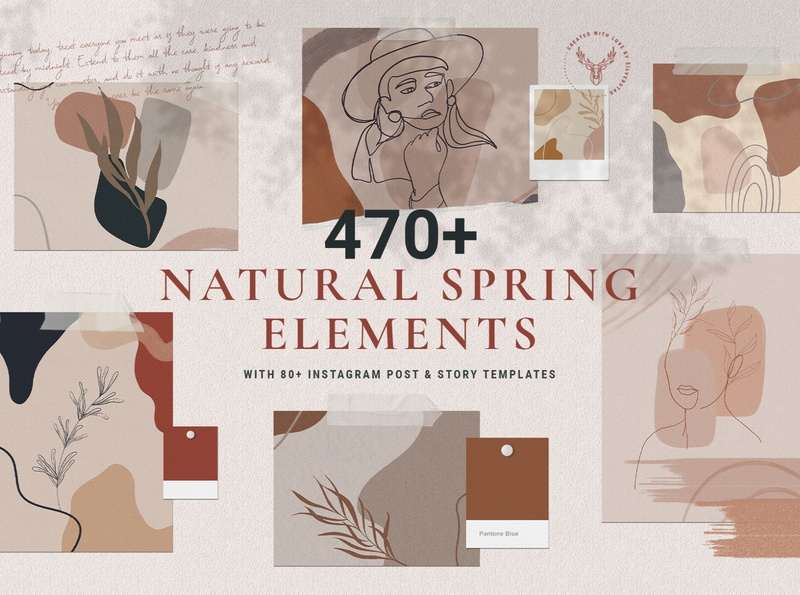 Natural Spring Graphics & Instagram Elements instagram stories fashion creative design graphics package hand drawn shape hand written hand drawn graphics social media creativemarket social pack elegant instagram instagram pack products creative creative market
