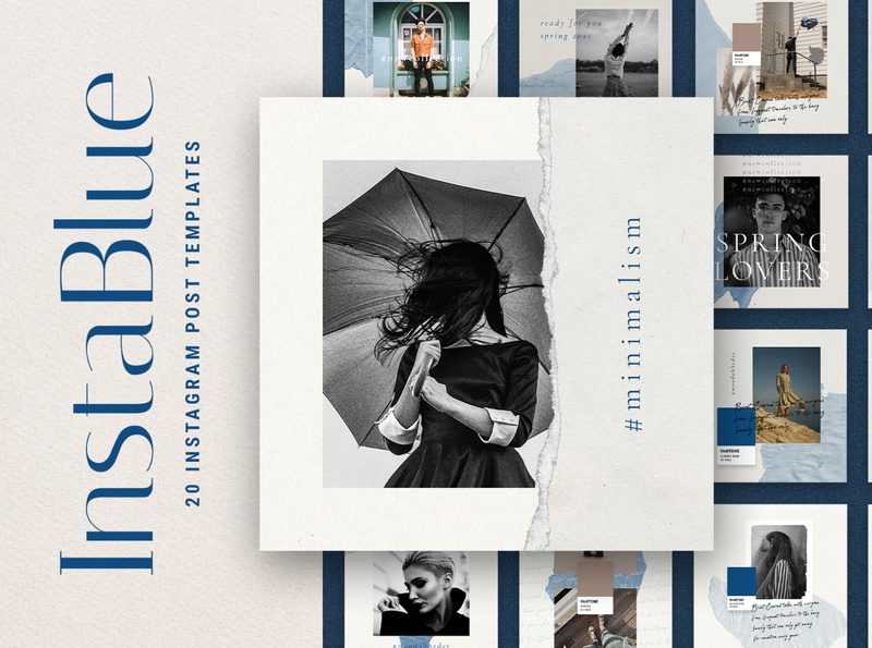 #InstaBlue - Minimal Instagram Posts photographers entrepreneur influencer fashion story templates templates instagram story template instagram story creativemarket instagram stories modern social media instagram elegant social pack instagram pack products creative market