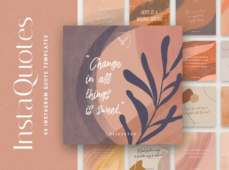 #InstaQuotes 40 Post Quote Templates watercolor instagram template creativemarket social media instagram social pack instagram pack creative products creative market
