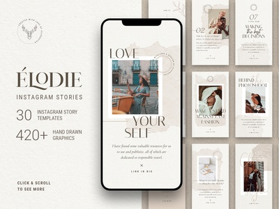 Elodie - Instagram Story Templates creativemarket design instagram stories social media instagram social pack instagram pack creative products creative market