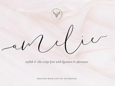 Amelie - Chic & Elegant Script Font feminine branding font signature font script fonts fonts script font font signature branding logo elegant creative creative market