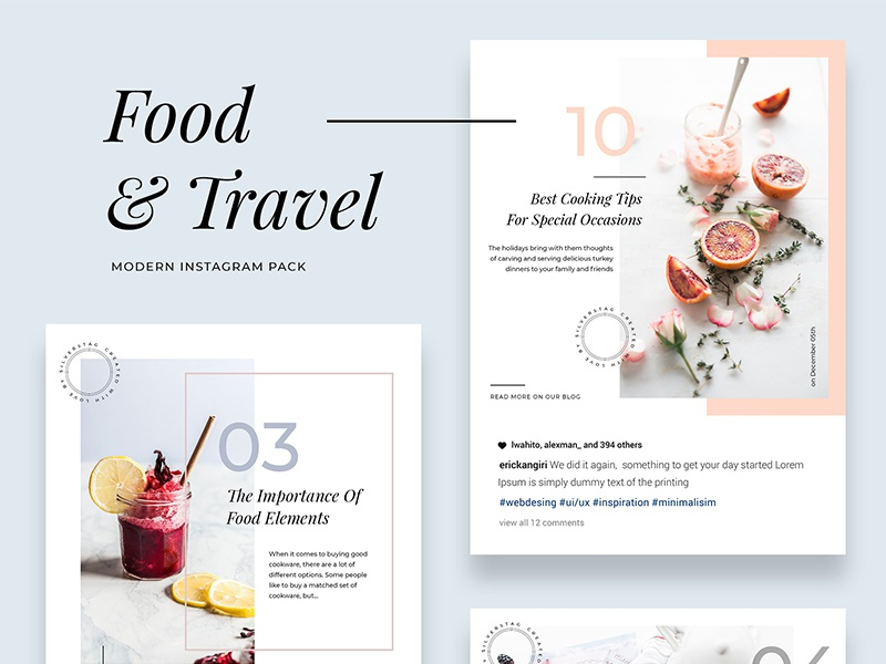 Modern Food & Travel Instagram Pack products instagram stories social pack creative market instagram pack social media instagram
