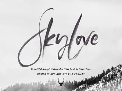 SkyLove SVG Watercolor Hand Drawn Script Font