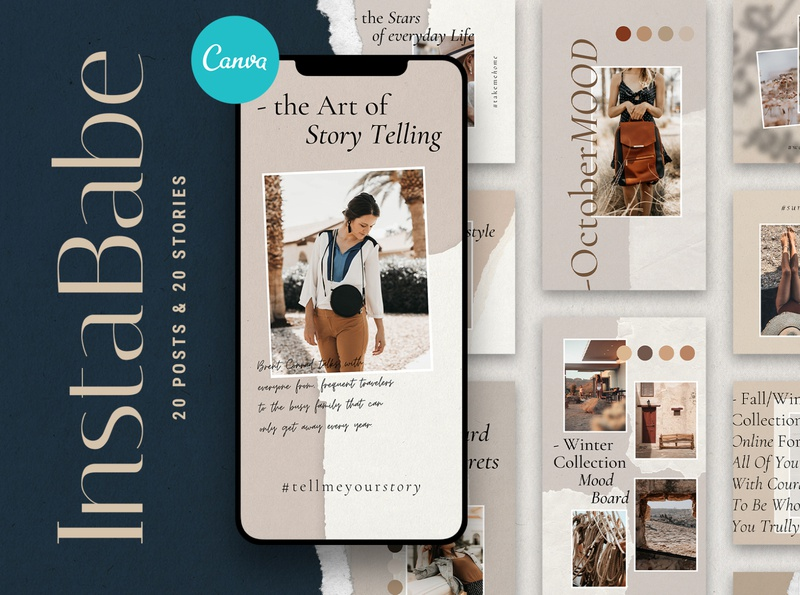 #InstaBabe - Canva Instagram Posts & Stories food influencer travel fashion templates torn paper graphic river envato instagram templates instagram template instagram stories elegant social media modern instagram social pack instagram pack creative products creative market