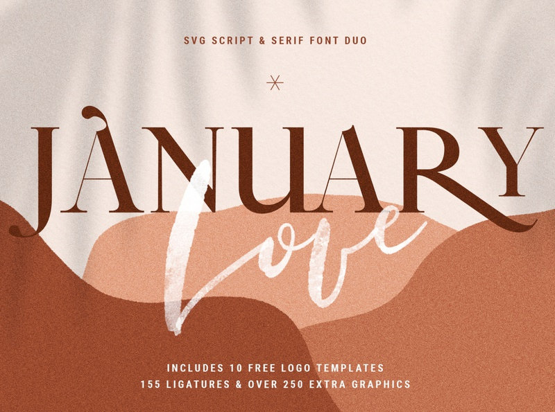 January Love Font Duo + Free Logos & More svg font serif font script lettering script font script font family fonts logo designs logotype logo design logodesign ux ui vector branding logo elegant creative products creative market