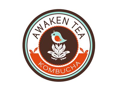 Awaken Tea Kombucha Logo logo emblem badge ragerabbit bird orange