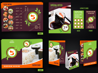 Sushi menu loyalty card and table tent vector template by petya sushi menu loyalty card and table tent vector template pronofoot35fo Choice Image