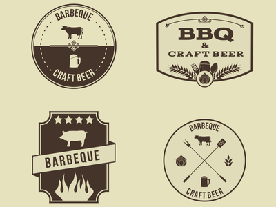 Vector Hipster Barbeque Emblems  vintage retro pig cow beer hipster petya ragerabbit logos bbq barbecue emblems
