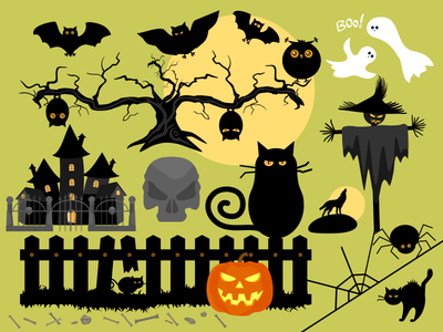 Halloween Funny Silhouettes And Creations halloween funny silhouettes creations black dark cartoon celebrate castle skull set vector