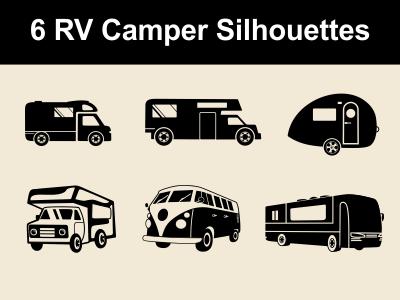Rv Campers Vector Silhouettes By Petya Hadjieva Ivanova