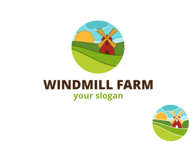 Windmill Farm Logo nature emblem badge abstract agriculture logo ragerabbit farm logo template windmill farm