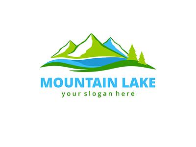 Mountain Lake Logo Template water lake forest green abstract ragerabbit nature hotel logo template mountain lake