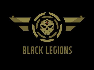 Black Legions Logo Template  khaki wings skull game game studio vector template logo legions black