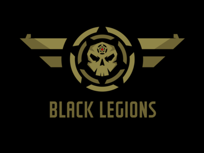 Black Legions Logo Template  khaki wings skull game game studio vector template logo legions black