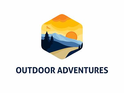 Outdoor Adventure Logo hawk vector badge emblem illustration landscape mountains envato template logo adventures outdoor