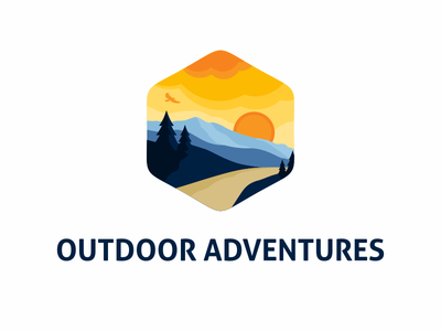 Outdoor Adventure Logo hawk vector badge emblem illustration landscape mountains envato template logo adventures outdoor