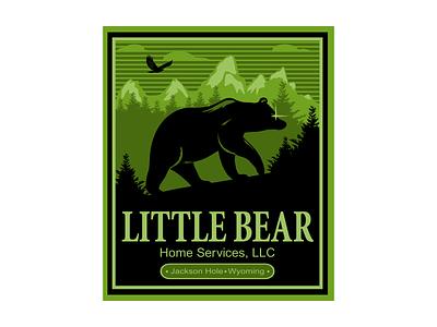 Little Bear Logo badge emblem forest howk mountain trees silhouette security hill ragerabbit bear logo little bear