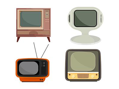 Retro Tvs Set television vintage retro video technology ragerabbit vector set tv