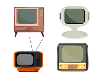 Retro Tvs Set television vintage retro video technology ragerabbit vector set tv