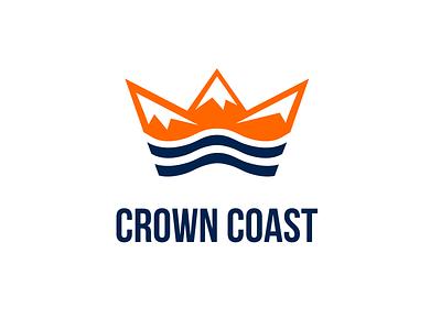 Crown Coast Logo icon mountains sea ragerabbit unique for sale logo coast crown