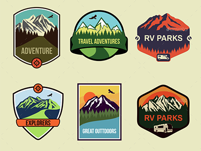 6 Travel Badges  mountains adventure ragerabbit vector emblems badges travel