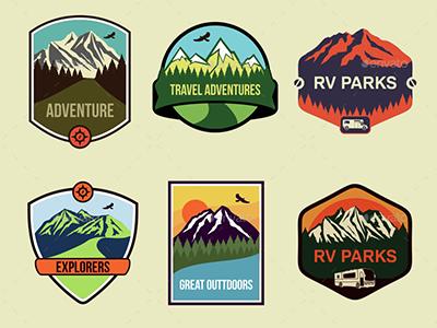 6 Travel Badges  mountains adventure ragerabbit vector emblems badges travel