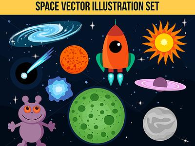 Space Vector Illustrations  petyahadjieva ragerabbit planets cloud alien rocket illustrations vector space