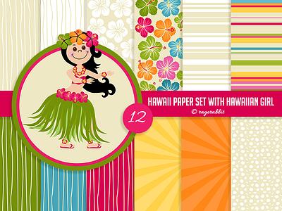 Hawaiian Digital Paper Set with Hawaiian Girl backgrounds summer hibiskus luau ragerabbit digital paper hawaiian girl hawaii