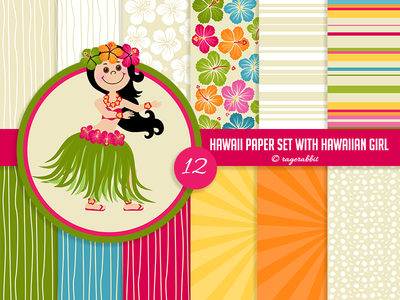 Hawaiian Digital Paper Set with Hawaiian Girl backgrounds summer hibiskus luau ragerabbit digital paper hawaiian girl hawaii