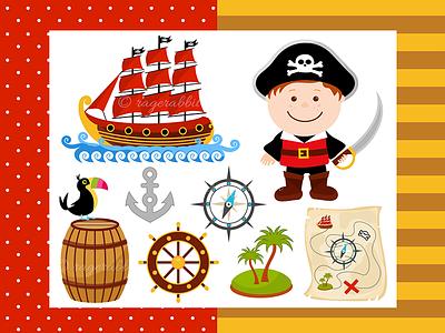 Pirate Boy Vector Illustration toucan pirate ship ragerabbit kids illustration vector pirates