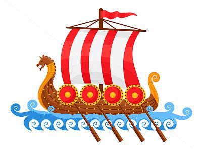 Viking Ship Vector Illustration ragerabbit cartoon vector illustration viking ship vikings