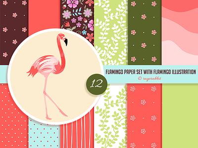 Flamingo Digital Paper Set with Flamingo Illustration handmade vintage retro flowers ragerabbit illustration digital paper bird flamingo