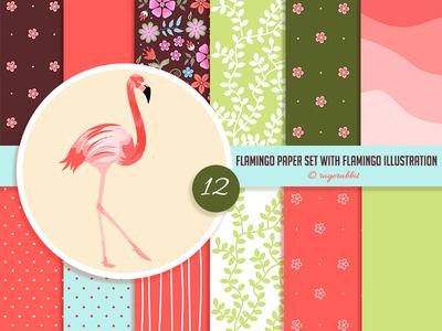 Flamingo Digital Paper Set with Flamingo Illustration