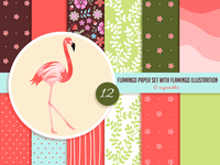 Flamingo Digital Paper Set with Flamingo Illustration