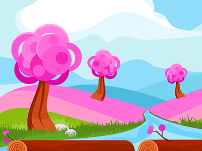 Pink Spring Game Background clouds trees pink river hills fantasy vector tileable game background