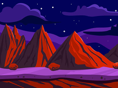 Red Mountains Game Background ragerabbit vector sars tileable night sky pick mountains red