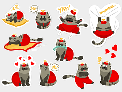 King Cheshire Sticker Pack for iMessage app icons cartoon funny collection pack moods stickers tabby cats oriental cats