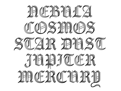 Nocturne Display mercury jupiter star dust cosmos nebula nocturne blackletter font design type designer type design font fotd fontoftheday type specimen specimen type typography